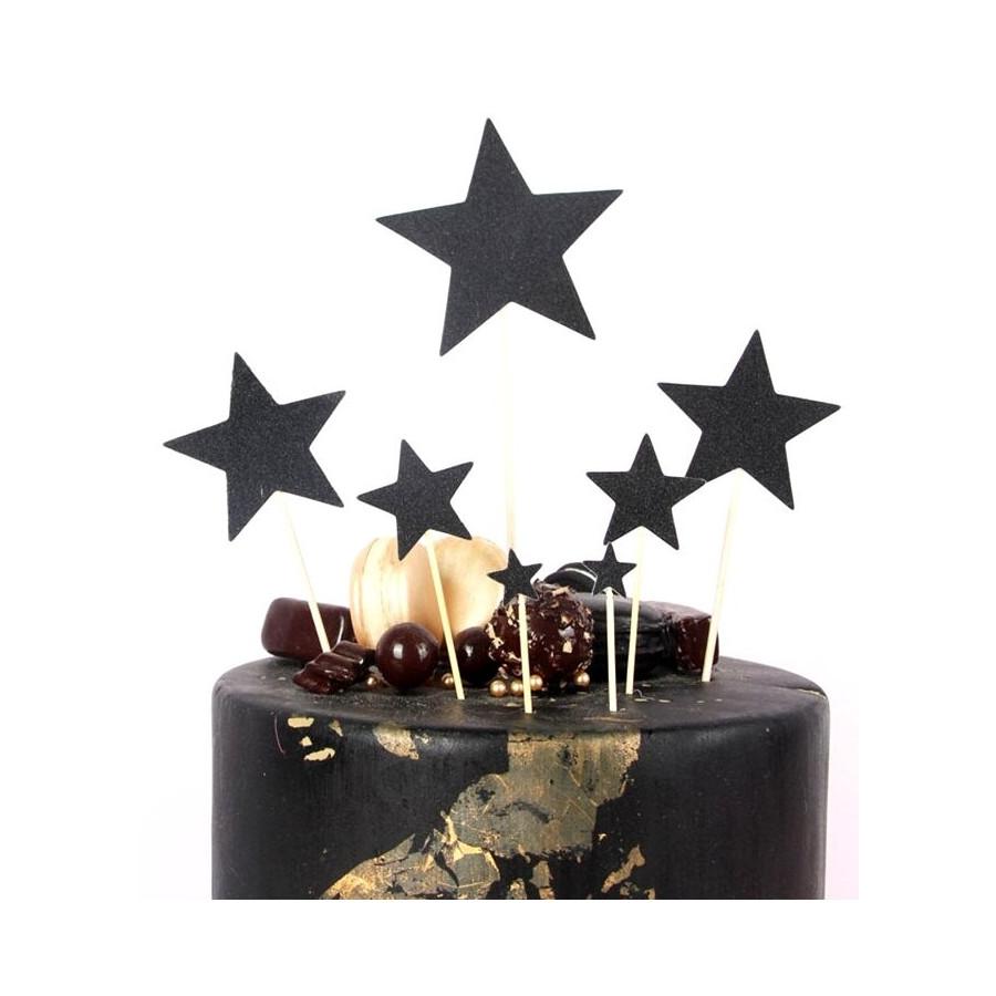 Toppery na tort brokatowe GWIAZDKI CZARNE 7szt