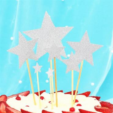 Toppery na tort brokatowe GWIAZDKI SREBRNE 7szt