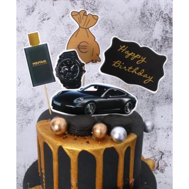 Toppery na tort HAPPY BIRTHDAY MANS WORLD 5szt