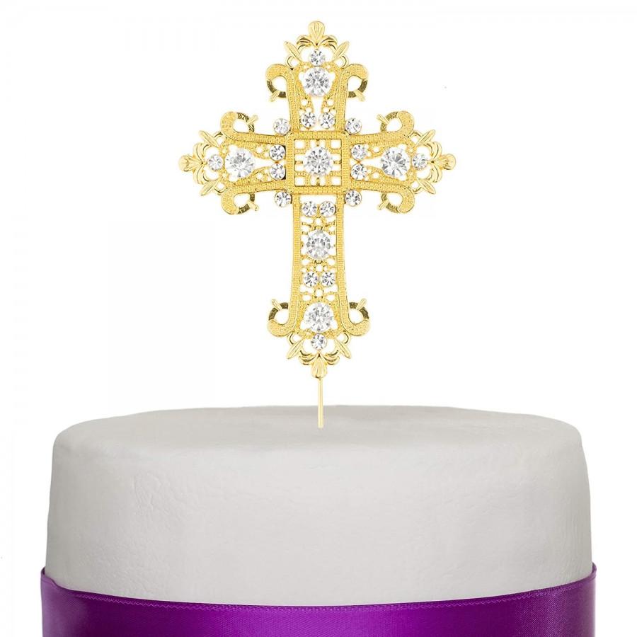 Topper na tort DIAMENTOWY KRZYŻ ZŁOTY ZDOBIONY Komunia
