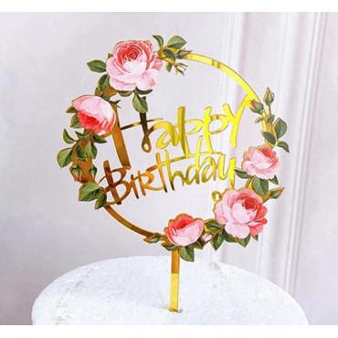 Akrylowy topper na tort Flowers Happy Birthday 1350