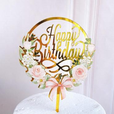 Akrylowy topper na tort Flowers Happy Birthday 1360
