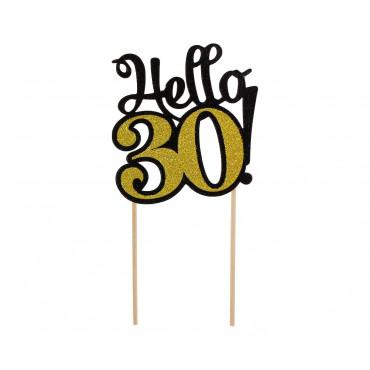 Topper papierowy CZARNO ZŁOTY na tort HELLO-30- PF-DP30