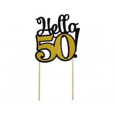 Topper papierowy CZARNO ZŁOTY na tort HELLO-50- PF-DP50