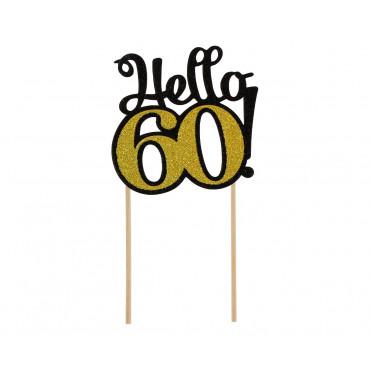 Topper papierowy CZARNO ZŁOTY na tort HELLO-60- PF-DP60