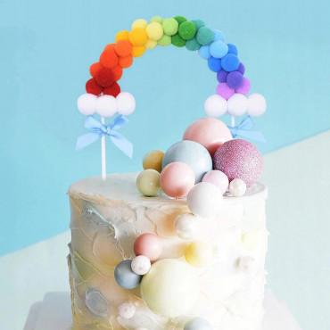 Topper na tort TĘCZA POMPONIKOWA KOLOROWA SB