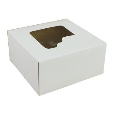 PUDEŁKO NA TORT BIAŁE Z OKNEM 28xX28x13