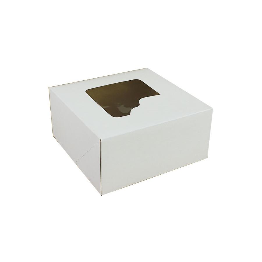 Pudełko na tort białe z okienkiem 28cmx28cmx13cm