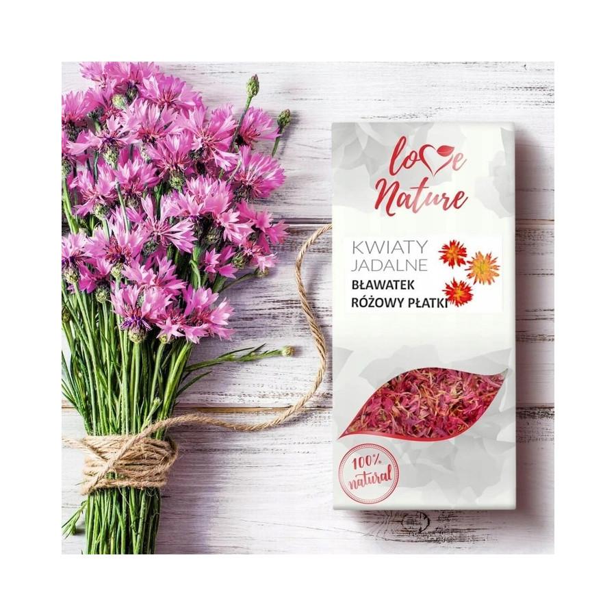 Kwiaty jadalne suszone Love Nature BŁAWATEK RÓŻOWY 10g