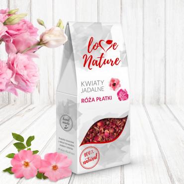 Kwiaty jadalne suszone Love Nature RÓŻA PŁATKI 20g