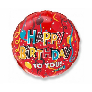 Balon foliowy OKRĄGŁY HAPPY BIRTHDAY 45cm 401501