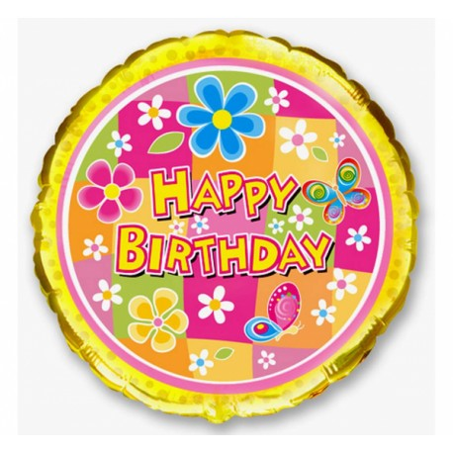 Balon foliowy OKRĄGŁY HAPPY BIRTHDAY FLOWER 45cm 401526