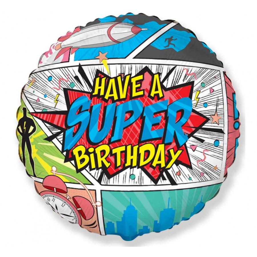 Balon foliowy SUPER BIRTHDAY 45cm 401597