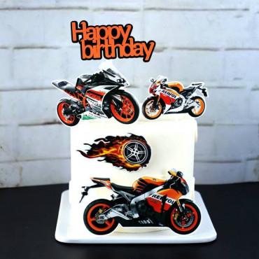 Toppery na tort HAPPY BIRTHDAY MOTORBIKE MOTOR 5szt 7110