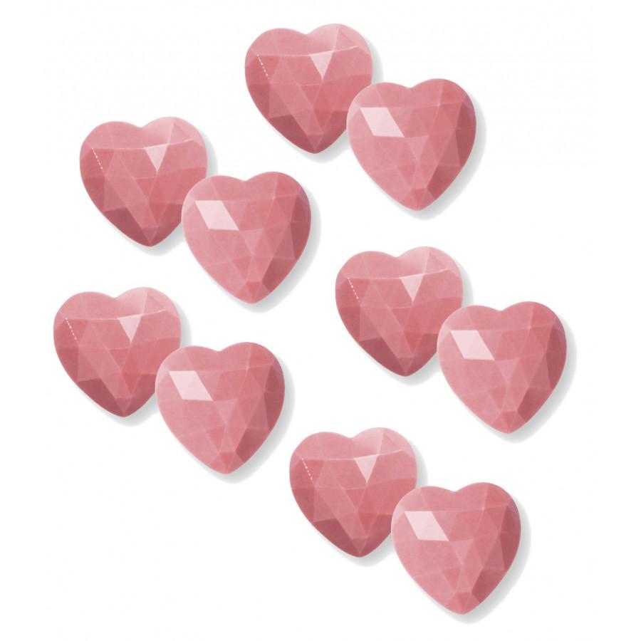Czekoladowe Serduszka Diamentowe Ruby Różowe 10 sztuk