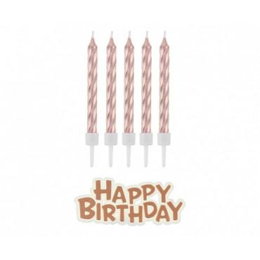 Świeczki urodzinowe metalizowane świderki rose gold 16szt podstawka z napisem