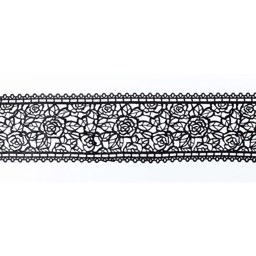 Koronka do dekoracji CZARNA 07 gotowa do użycia dł.120cm