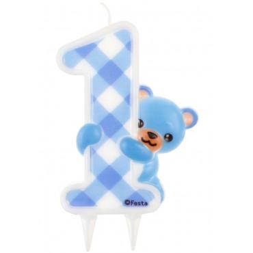 Świeczka cyfra 1 urodziny duży niebieski MIŚ PF-SJNM