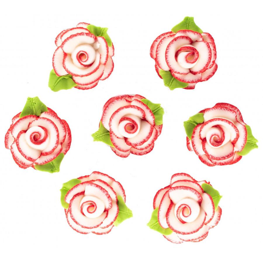 Kwiaty Cukrowe Na Tort Urodzinowy Biało-Czerwone Róże EX0979
