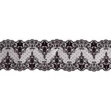 Koronka do dekoracji CZARNA 03 gotowa do użycia dł.120cm EX2201