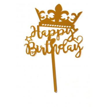 Topper akrylowy Korona Happy Birthday ZŁOTA 1810
