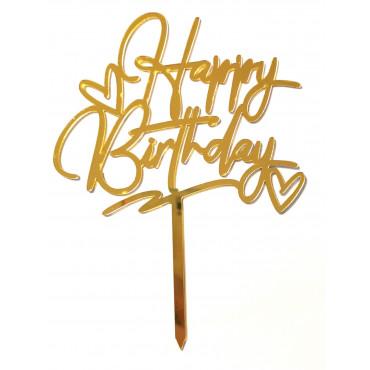 Topper akrylowy na tort HAPPY BIRTHDAY Z SERCEM ZŁOTY 1870