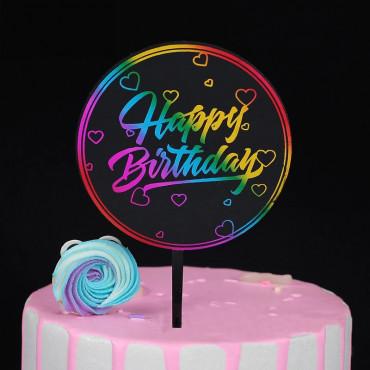 Topper akrylowy na tort urodzinowy OKRĄGŁY NEONOWY MIX 1850