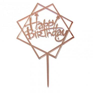Topper akrylowy ROMB Happy Birthday ROSE GOLD RÓŻOWE ZŁOTO 1830