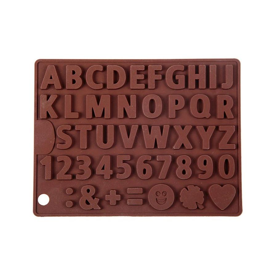 Forma silikonowa do czekolady masy LITERY CYFRY ZNAKI 9890