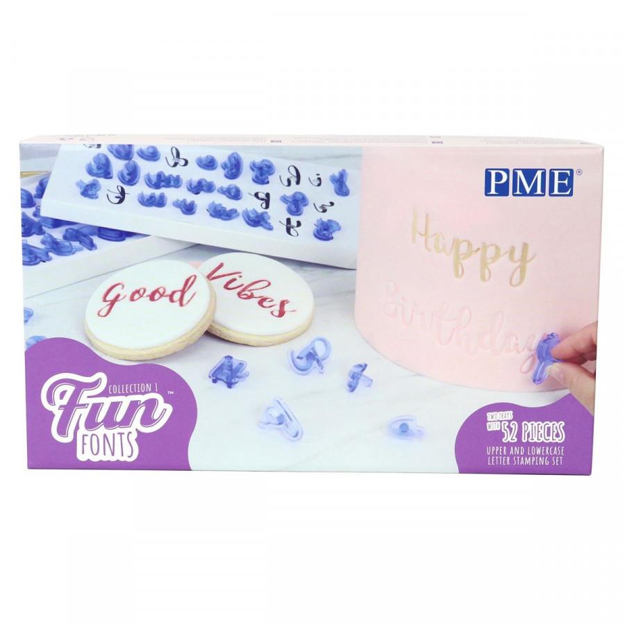 PME Zestaw foremek do tworzenia napisów alfabet FUN FONTS 52 szt