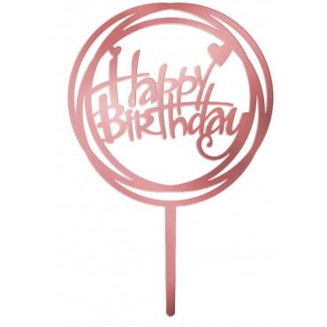 Topper akrylowy na tort urodzinowy OKRĄGŁY RÓŻOWE ZŁOTO ROSE GOLD 1840