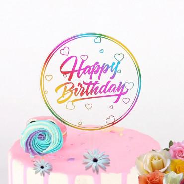 Topper akrylowy na tort OKRĄGŁY PRZEŹROCZYSTY HAPPY BIRTHDAY 1890
