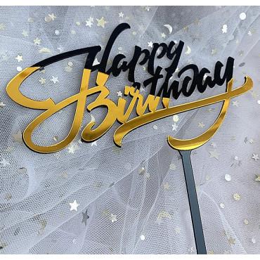 Topper akrylowy na tort HAPPY BIRTHDAY CZARNO ZŁOTY 1891