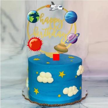 Topper akrylowy na tort HAPPY BIRTHDAY PLANETY KOSMOS 1892