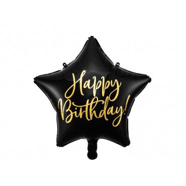 Balon foliowy HAPPY BIRTHDAY CZARNA GWIAZDKA 40cm PD