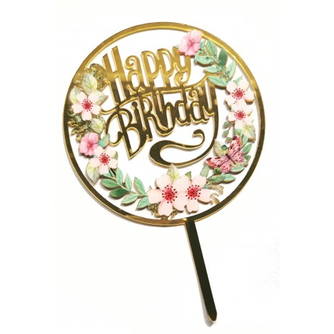 Akrylowy topper na tort Flowers Happy Birthday 1510