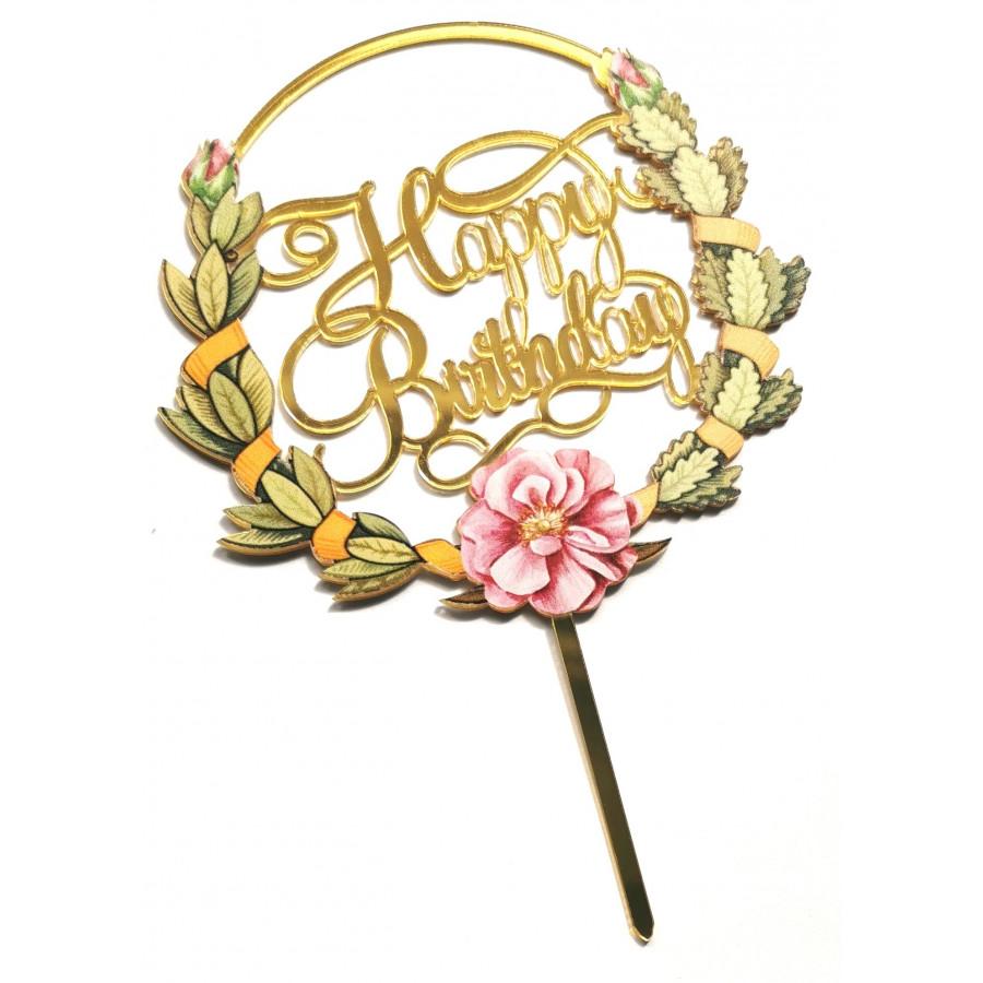 Akrylowy topper na tort Flowers Happy Birthday 1520