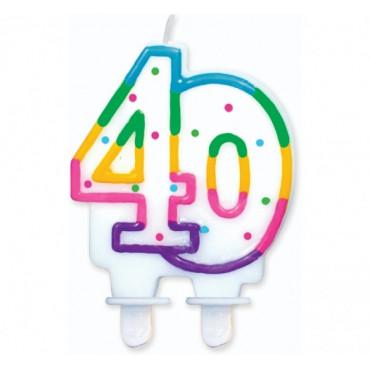 """Świeczka urodzinowa z kropeczkami liczba """"40"""""""