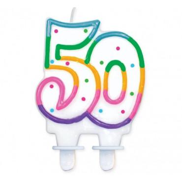 """Świeczka urodzinowa z kropeczkami liczba """"50"""""""