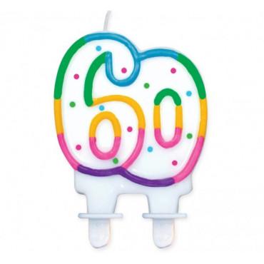 """Świeczka urodzinowa z kropeczkami liczba """"60"""""""
