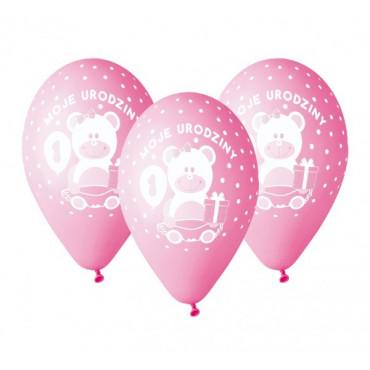 """Balony urodzinowe """"Moje 1 URODZINY"""" 5szt GD-M1UD1 różowe"""