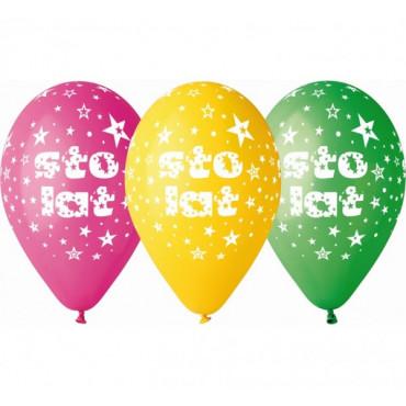 """Balony urodzinowe """"Sto Lat"""" 5szt GS110 PG01"""
