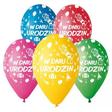 """Balony urodzinowe """"W dniu urodzin"""" 5szt GS110 PG02"""