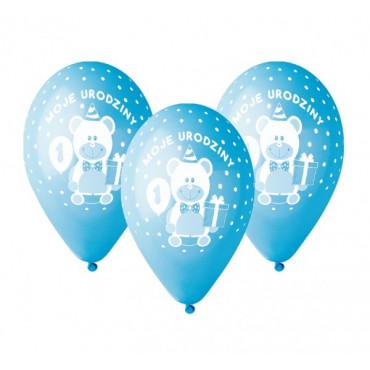 """Balony urodzinowe """"Moje 1 URODZINY"""" 5szt  GD-M1UC1 niebieskie"""