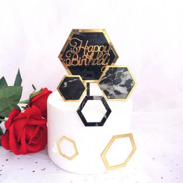 Topper na tort Marmurowy Happy Birthday 9110