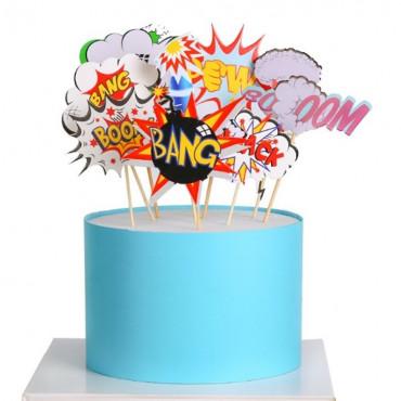 Topper papierowy na tort KOMIKS NAPISY 9134 9szt