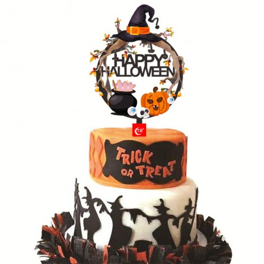 Topper na tort akrylowy Happy Halloween Wood 9175