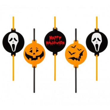 Słomki plastikowe Halloween z dekoracjami 5szt