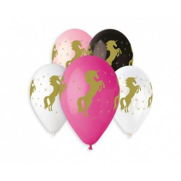 """Balony urodzinowe """"ZŁOTY JEDNOROŻEC"""" 5szt GS120/ZJ"""