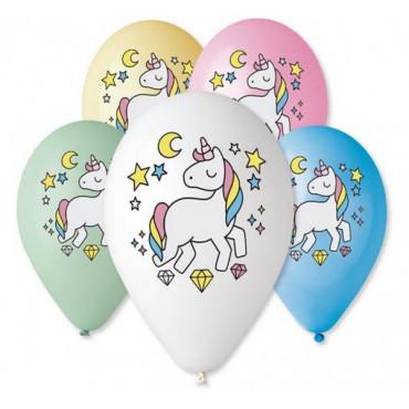 """Balony urodzinowe """"JEDNOROŻEC DIAMENTY"""" 5szt GS110/P661"""